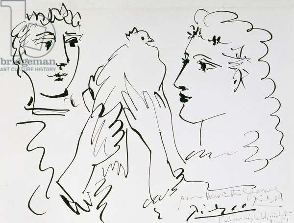 The Bird Couple, Vallauris; Couple a l'Oiseau, Vallauris, 1951 (pen and black ink on paper)