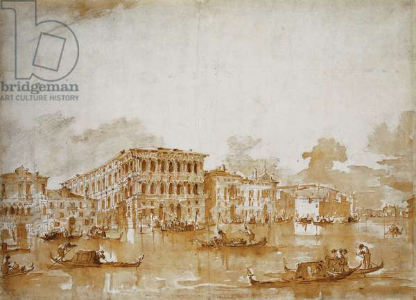 The Grand Canal with the Ca' Pesaro (recto), (black chalk, pen and brown ink, brown wash)