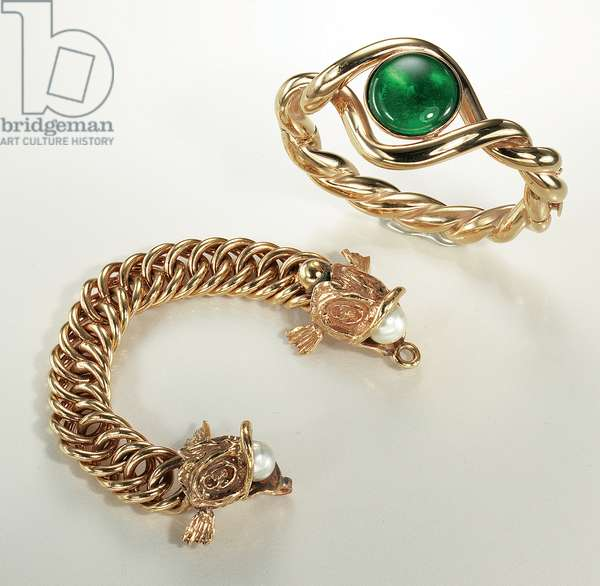 Two bracelets (gilt metal, simulated pearl & green molten glass)