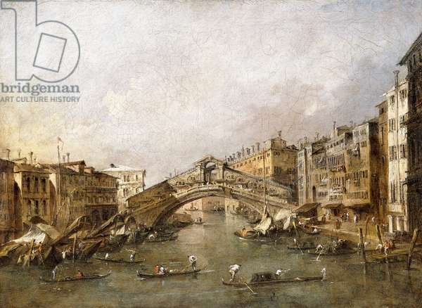 The Rialto Bridge, Venice, with Gondolas in the foreground,  (oil on canvas)