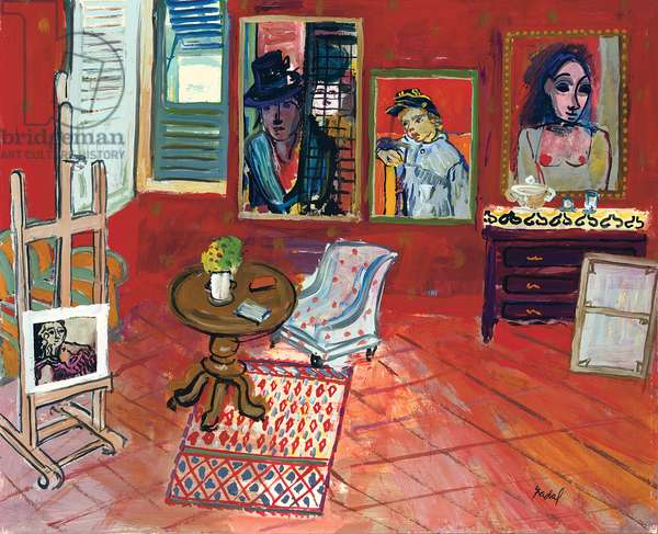 Red Interior; Interieur rouge, c.1968 (oil on paper laid down on canvas)