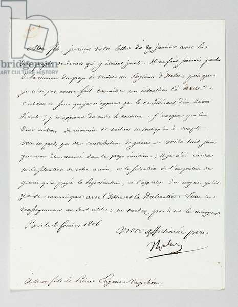 Signed letter from Napoleon to his stepson, Prince Eugène de Beauharnais Napoleon (1781-1824) (pen & ink on paper)