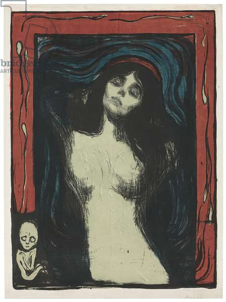 Madonna - Liebendes Weib, c. 1895-1902 (lithograph, printed in black, red, blue and jade green on white)