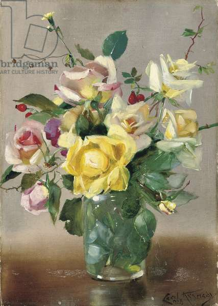 Roses and rose hips, 1928 (oil on board)