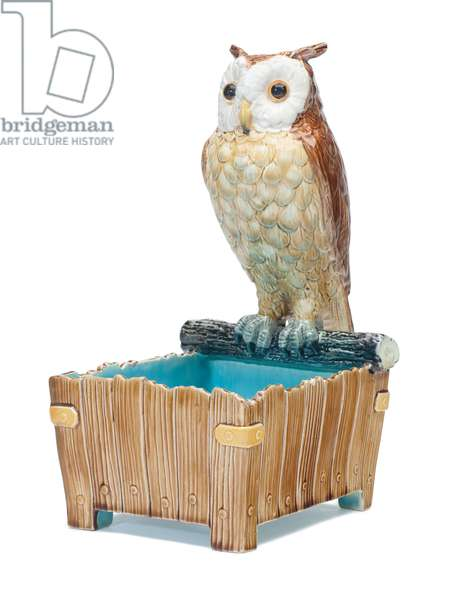 Majolica Owl Jardiniere, c.1875 (ceramic)