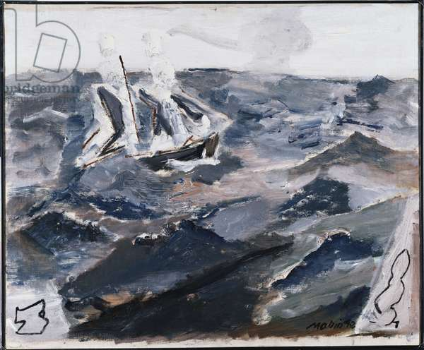 Sea and Boat (oil on canvas)