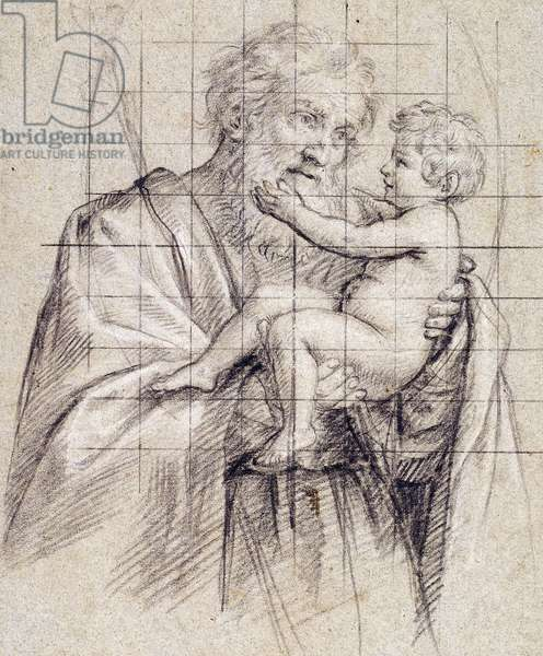 Saint Joseph holding the Christ Child,  (black and white chalk on blue-grey paper)