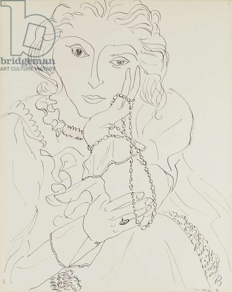Woman with Ruffled Shirt and Pearl Necklace, 1937 (pen and India ink on paper)
