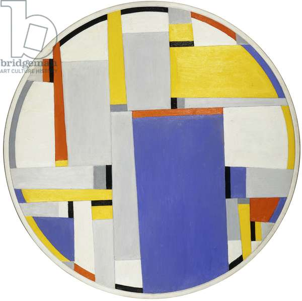 Relational Painting Tondo no, 1964 (oil on masonite applied to a heavy circular wooden board)