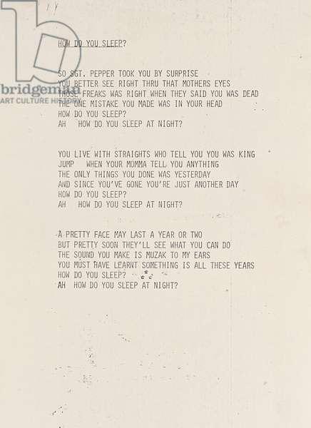 How Do You Sleep?, draft lyric sheet for 'Imagine', 1971 (photocopy)