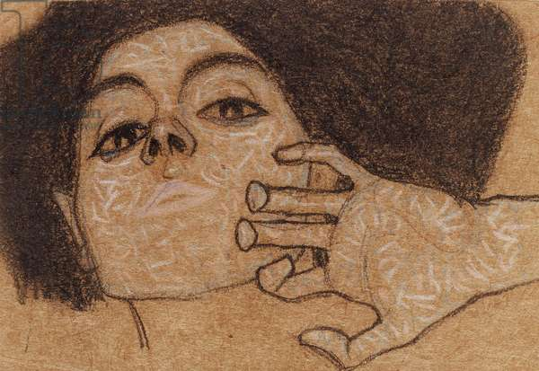 Head of a woman, c.1907-8 (conte & pastel on paper)