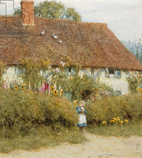 Cottage at West Horsley,  Surrey (watercolour with scratching out)