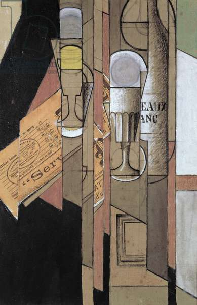 Verres, Journal et Bouteille de Vin, Collage