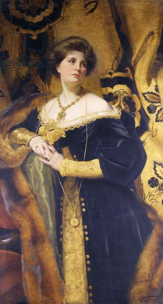 The Lady in Black and Gold - Mrs Frank O, 1916 (spirit fresco on gold leaf)