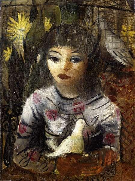 Girl with Bird; Menina com Passaro,  (oil on canvas)