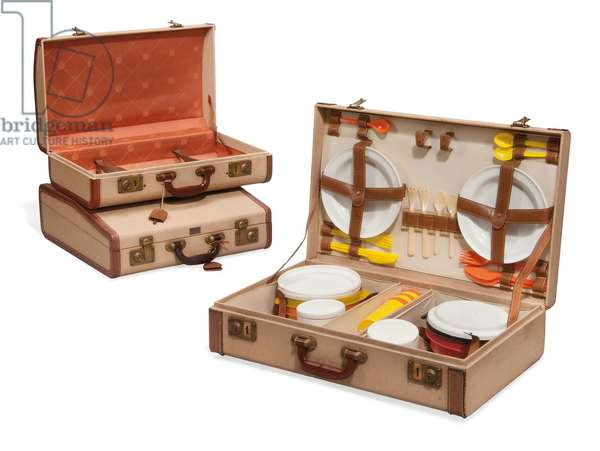 Two suitcases and a picnic hamper, Loewe, mid-20th century (canvas, leather, brass & plastic)