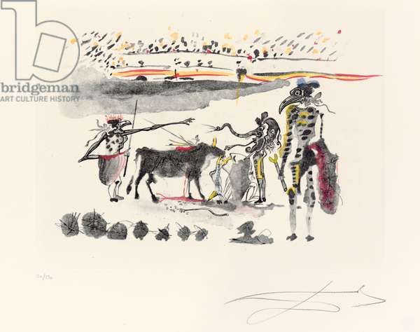 Les Perroquets, plate from 'Tauromachie Surréaliste', 1966-67 (heliogravure with drypoint and hand-colouring)