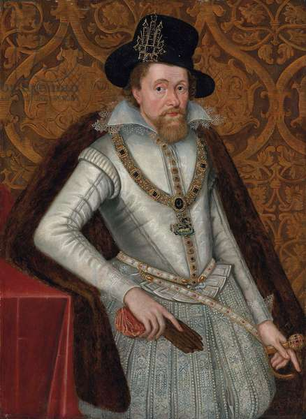 Portrait of King James I of England and VI of Scotland (1566-1625), three-quarter-length, in a white doublet with a lace collar, jewelled hose and a fur cloak, wearing the Greater George, a black hat with a jewel, holding a pair of gloves in his right hand, his left hand resting on the hilt of his sword (oil on panel)