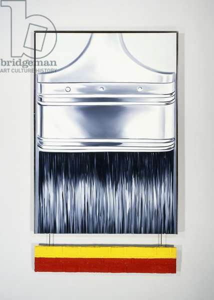 Paint Brush, 1964 (oil on canvas, painted moulded plastic, and metal chain)