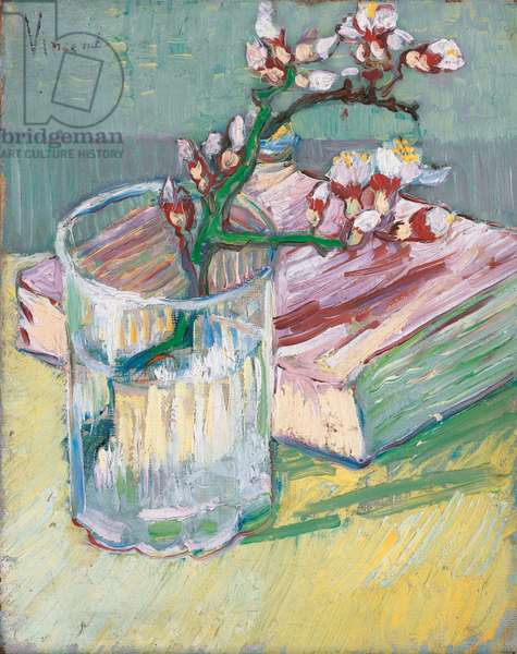 Flowering almond branch in a glass with a book, 1888 (oil on canvas)