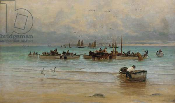 Loading Fish at Low Tide, St. Ives (oil on canvas)