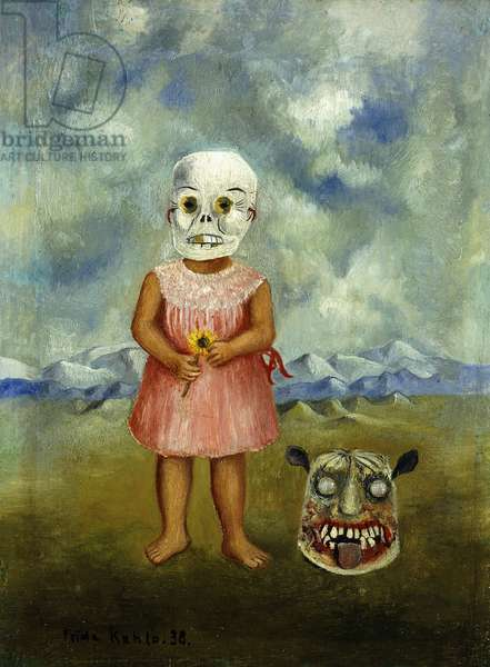 She Plays Alone or Girl with Death Mask; Ella Juega Sola o Nina con Mascara de la Muerte, 1938 (oil on tin)