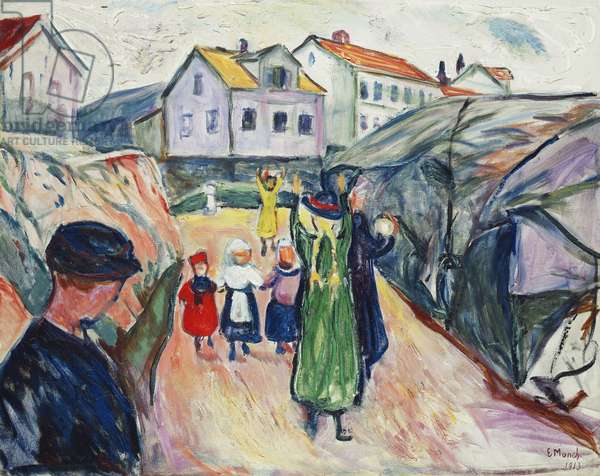 Street in Kragero (Gate i Kragero); Dorfstrasse Kragero (Gate i Kragero), 1913 (oil on canvas)