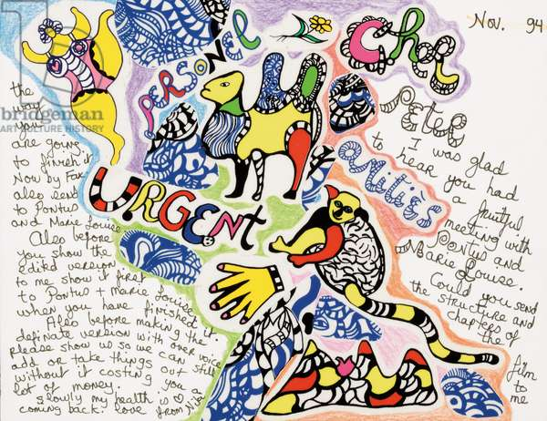 Letter to Peter, 1994 (pen & ink, crayon and collage on paper)