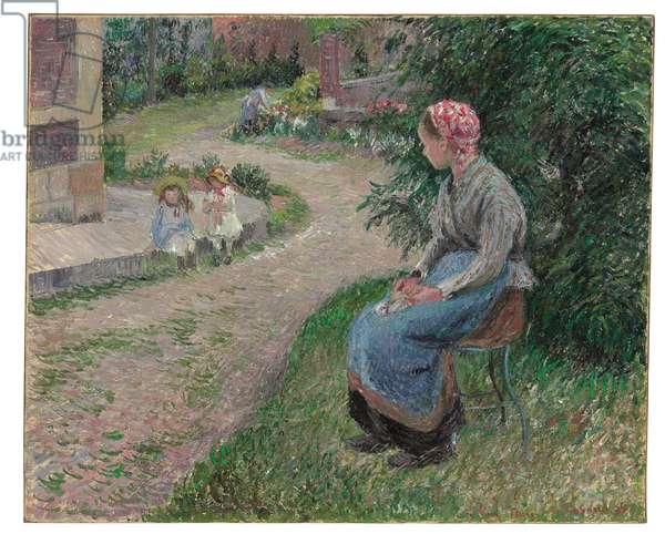 A Servant Seated in the Garden at Eragny, 1884 (oil on canvas)