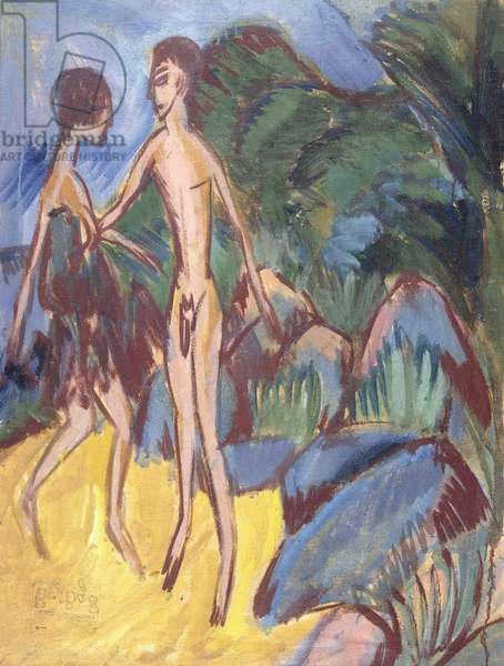 Youth and Naked Girl on Beach; Nackter Jungling und Madchen am Strand, 1913 (oil on canvas)