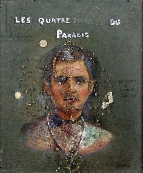 Les Quatre...Du Paradis, 1998 (ceramic objects, wire, beads and oil on found painting on board)