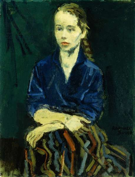 Girl in Blue Blouse, (oil on canvas)