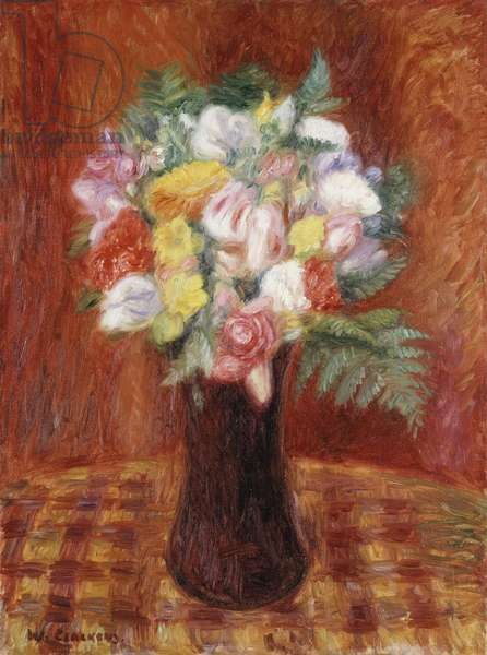 Bouquet in Purple Vase,  (oil on canvas)