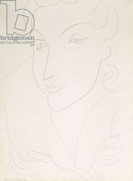 Head of a Young Woman; Tete de Jeune Femme, 1940 (pencil on paper)