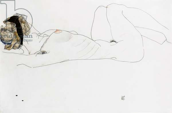 Reclining female nude, 1912 (pencil & w/c on paper)