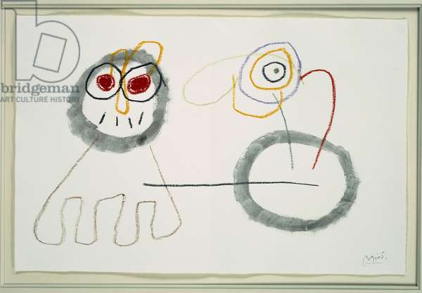 Figures, study for 'The Childhood of Ubu', c.1953 (oil pastel & grey ink wash on paper)