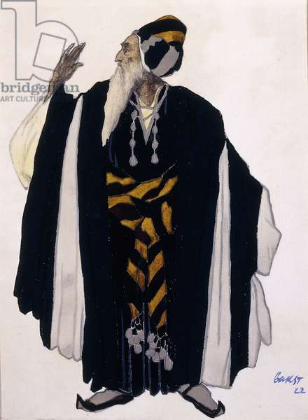 Costume design for a Jewish Elder for the drama 'Judith', 1922 (pencil, w/c & gouache on paper)