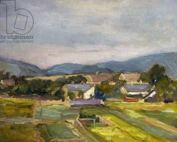 Landschaft in North Austria, 1907 (oil on board)