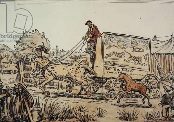The Cicus Wagon,  (pen and black ink and watercolour)