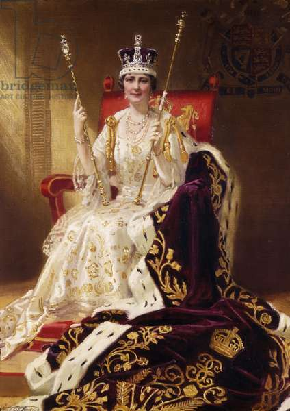 Portrait of H. M. Queen Elizabeth, seated full length, in Coronation Robes, 1937 (oil on canvas)