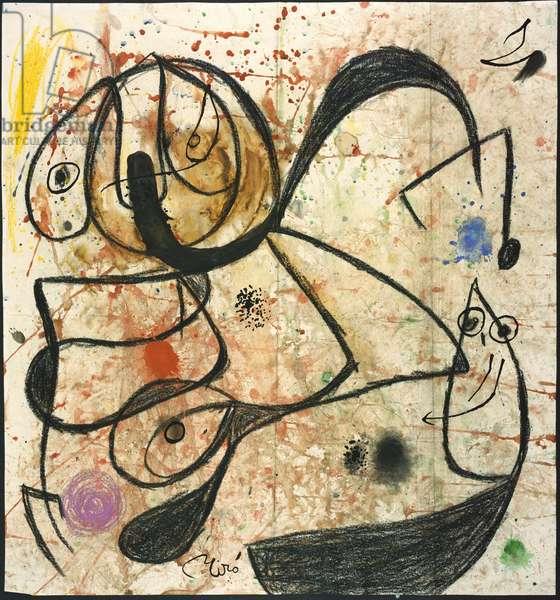 Women, Birds, 1975 (w/c, gouache, crayon, pen & Indian ink on paper)
