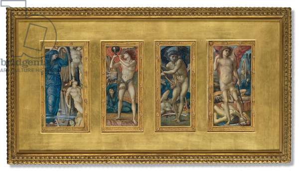 The Triumph of Love (or Amor Vincit Omnia): Fortuna, Fama, Oblivio and Amor, 1871 (watercolour and bodycolour heightened with gold on canvas, laid down on paper; four panels)