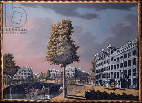A View of the Herengracht overlooking Binnenamstel and the Nieuwe Herengracht, Amsterdam, 1776 (Verre eglomise)