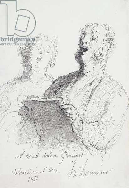 Two Singers; Deux Chanteurs, 1868 (pen and ink with wash on paper)