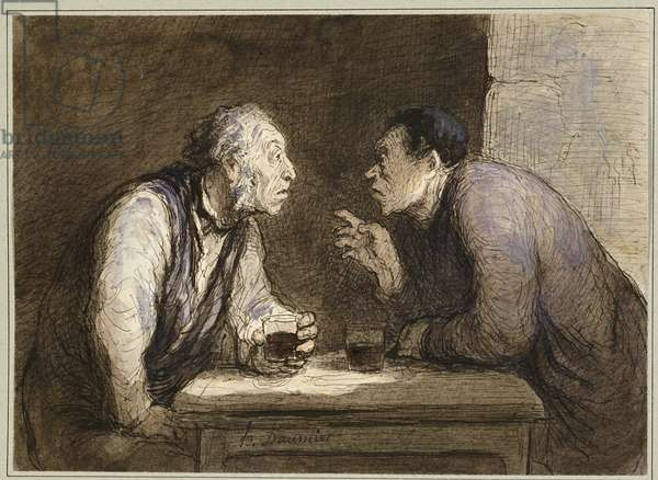 Two Drinkers, c.1857-69 (w/c, pen & black ink and gouache on paper)