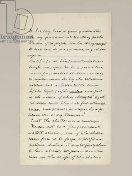Autograph manuscript of Lincoln's election victory speech as President, delivered in Washington D.C., from the window of the White House on the evening of 10th November, 1864 (pen & ink on paper) (see also 489210, 11 and 488337)