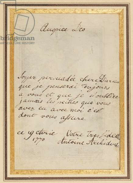 Autograph letter to Thérèse or Barbe Durieux, dated 19 April 1770 (pen & ink on vellum) (verso of 2961210)