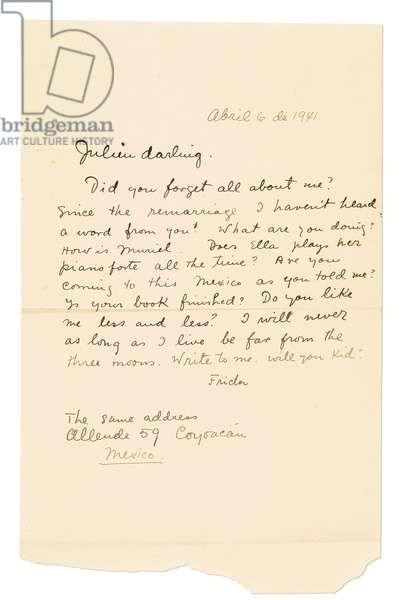 Autograph letter signed ('Frida') to Julien [Levy], Coyoacán, 6 April 1941 (pen & ink on paper)
