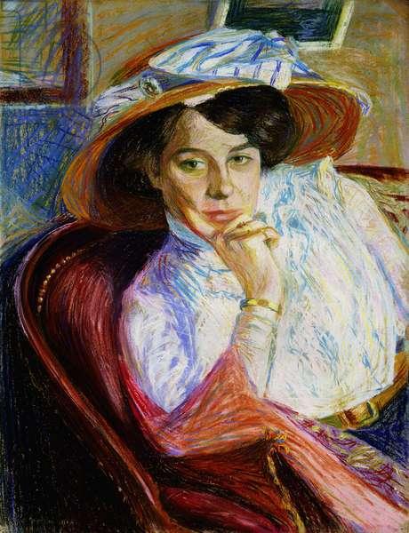 Portrait de Mlle Yvonne Geraud, 1908 (pastel on board)