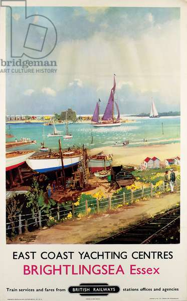 East Coast Yachting Centres: Brightlingsea, Essex, poster advertising British Railways, 1955 (colour litho)